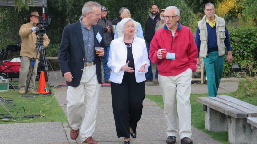 William C. Dudley, Janet Yellen and Stanley Fischer in Jackson Hole