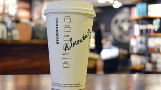 Almond milk coming to certain Starbucks locations in the U.S. by the end of September.