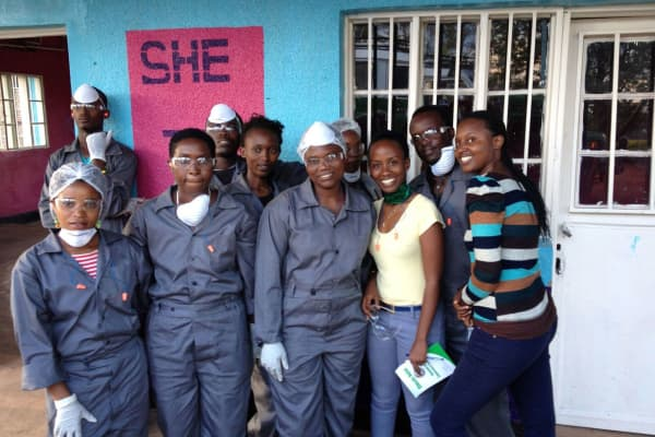 The SHE production team outside their facility in Ngoma, Rwanda.