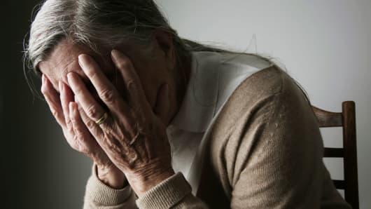 Senior woman sick