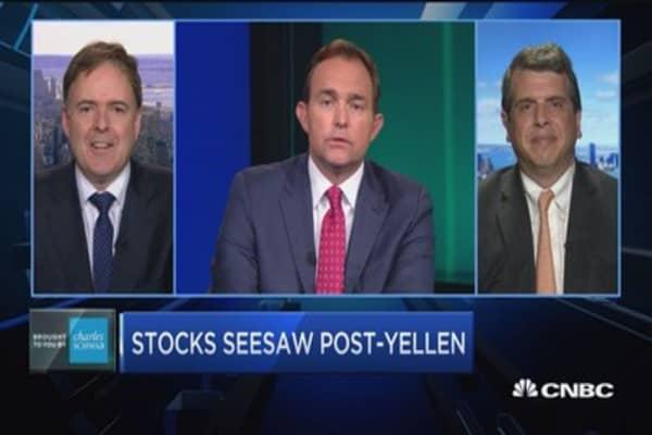 Stocks seesaw post-Yellen