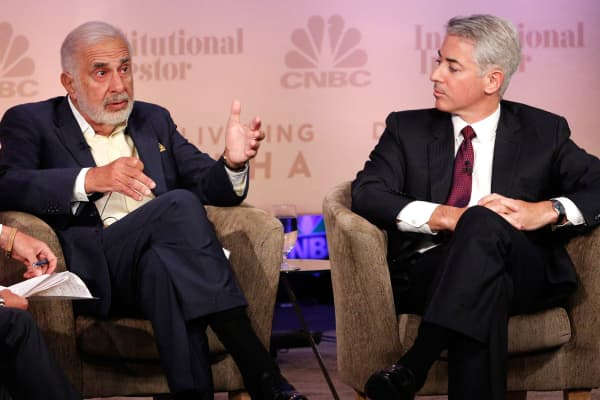 Carl Icahn, Chairman, Icahn Enterprises and Bill Ackman, Managing Partner, Pershing Square Capital Management at the 2014 CNBC Institutional Investor Delivering Alpha Conference in New York.