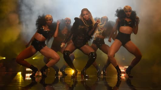 Beyonce performs onstage during the 2016 MTV Video Music Awards at Madison Square Garden.