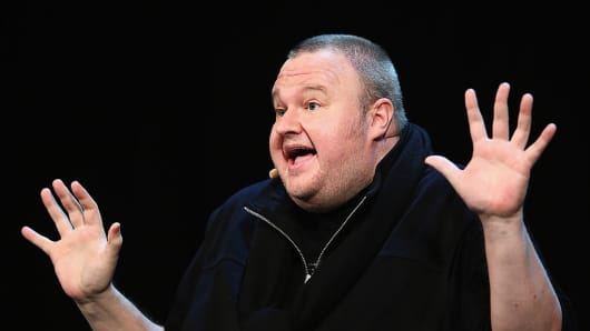 Kim Dotcom and other special guests discuss the revelations about New Zealand's mass surveillance at Auckland Town Hall on September 15, 2014 in Auckland, New Zealand.