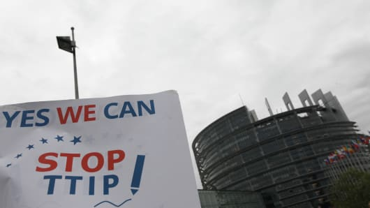 Protest action against the Transatlantic Trade and Investment Partnership agreement (TTIP) in front of the European Parliament on June 10, 2015 in Strasbourg, France.