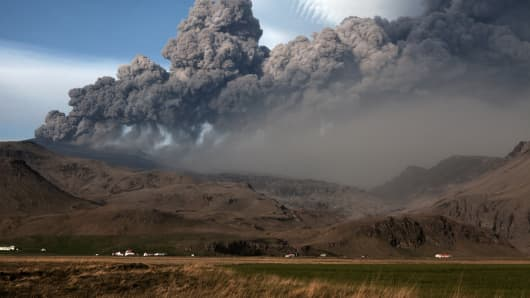 A towering ash plume from Iceland's Eyjafjallajokull crater on May 8, 2010 near Reykjavik, Iceland.