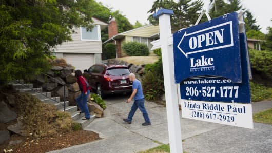 Potential homebuyers attend an open house in Seattle.