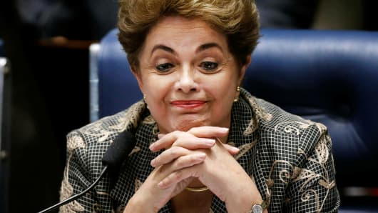 Brazil's suspended president, Dilma Rousseff, attends the final session of debate and voting on her impeachment trial in Brasilia on August 29, 2016.