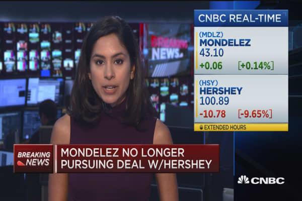 Mondelez no longer pursuing deal with Hershey