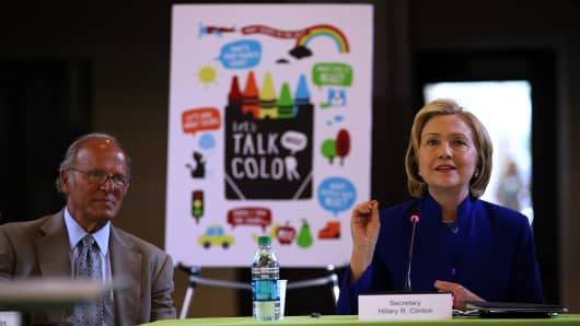 Hillary Clinton speaks during an event at the Children's Hospital Oakland Research Institute in Oakland, California.