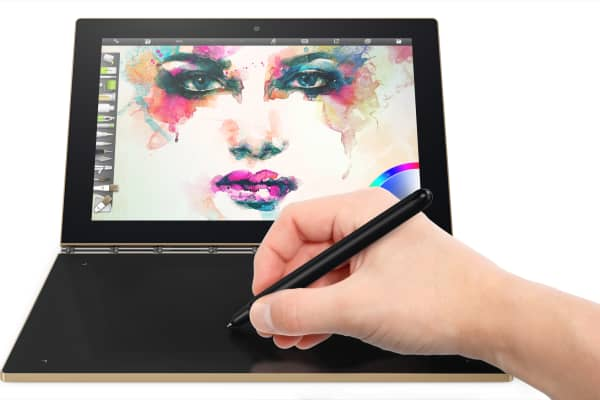 Users can draw on the Yoga Book's touch surface with Lenovo's stylus.