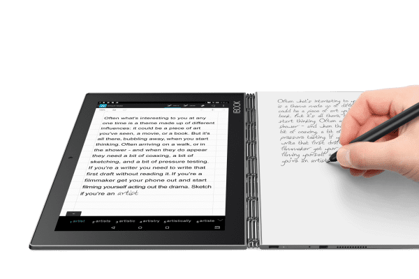 Users can write with ink on physical paper and the Lenovo Yoga Book will convert that into digital text.