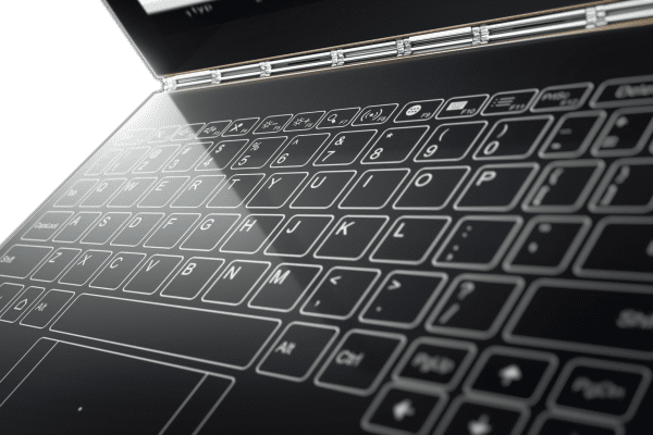 The touch keyboard on Lenovo's Yoga Book.