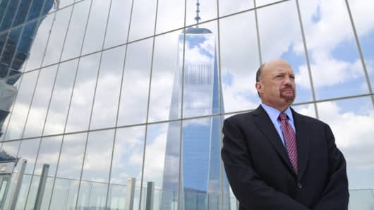 Jim Cramer at One World Trade Center for his new documentary Ground Zero Rising.