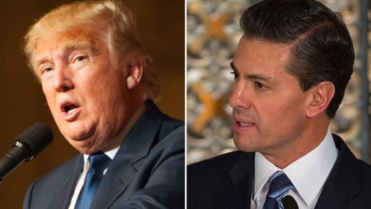 Republican presidential candidate Donald Trump and Enrique Peña Nieto, President of Mexico