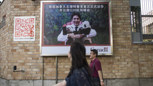 August 31, 2016: A billboard with a Chinese message that translates as 'Welcome, Canadian Prime Minister Justin Trudeau for his first official trip in China and to participate at the G20 summit in Hangzhou.""