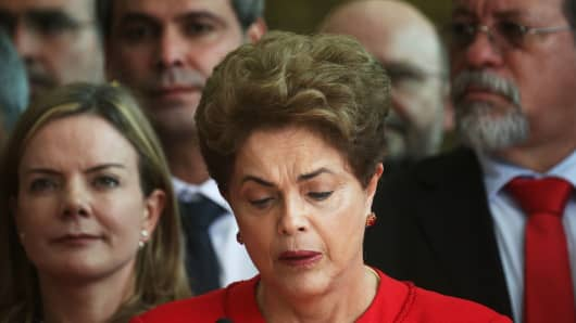 Impeached President Dilma Rousseff delivers her farewell address in Alvorado Palace on August 31, 2016 in Brasilia, Brazil.