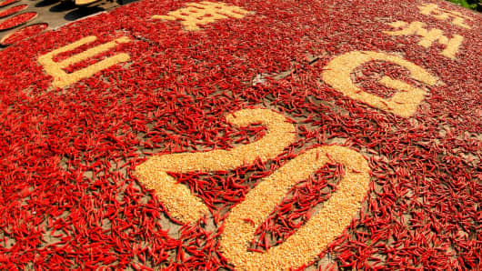 Farmers make a pattern of '2016 G20 Summit' with crops at Chengkan Village in Huizhou District on August 29, 2016 in Huangshan, Anhui Province.