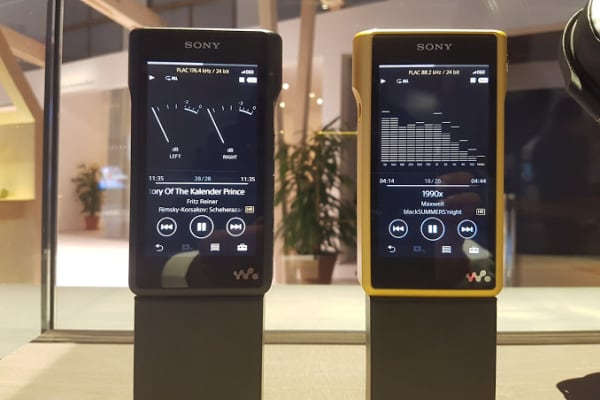 Sony's WM1A (L) and the gold-plated WM1Z (R) on display at the IFA consumer electronics show in Berlin, on Thursday September 1, 2016.