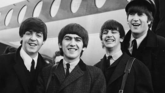 The Beatles in 1964. Left to right: Paul McCartney, George Harrison, Ringo Starr and John Lennon.