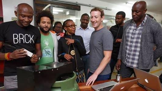 Facebook CEO Mark Zuckerberg meets with entrepreneurs in Nairobi, Kenya.