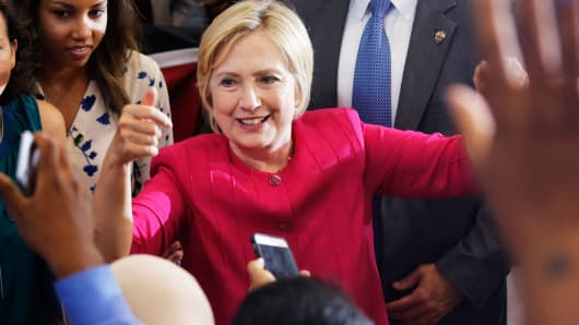 Hillary Clinton greets supporters in Philadelphia, Pennsylvania.