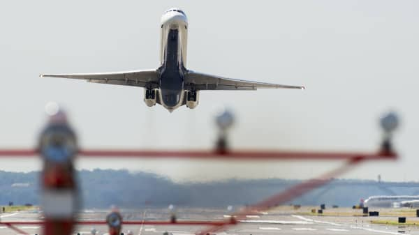 A Delta Airlines airplane takes off from Ronald Reagan Washington National Airport in Arlington, Virginia.