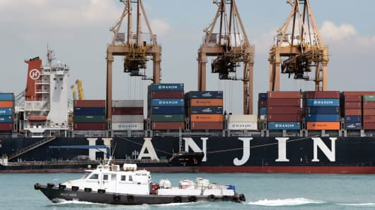 A file photograph shows one of South Korean Hanjin shipping vessel entering the port in Singapore.