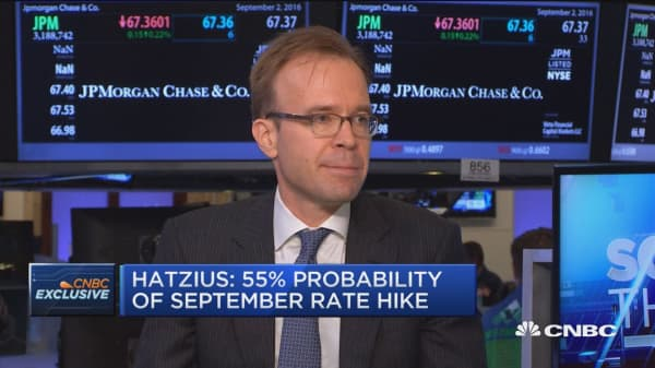 Hatzius: 55% probability of September rate hike