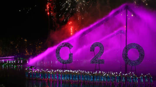 Artists perform onstage during a gala of the G-20 summit at the West Lake in Hangzhou.