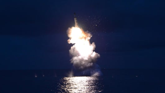 An undated picture released from North Korea's official Korean Central News Agency (KCNA) on August 25, 2016 shows a test-fire of strategic submarine-launched ballistic missile being launched at an undisclosed location.