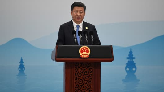 China's President Xi Jinping delivers his closing statement for the G-20 Summit in Hangzhou on September 5, 2016.