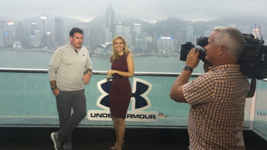 Under Armour CEO Kevin Plank and CNBC's Sara Eisen