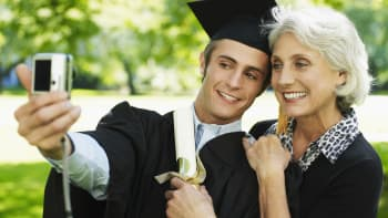 Mother and son during graduation, retirement