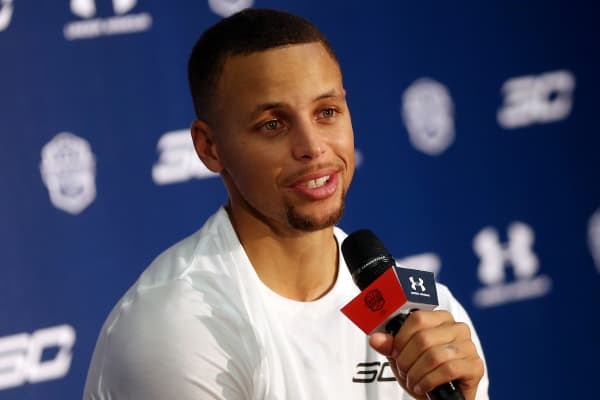American professional basketball NBA player Stephen Curry of the Golden State Warriors attends a commercial event for Under Armour at Asian Games Stadium on September 3, 2016 in Guangzhou, China.
