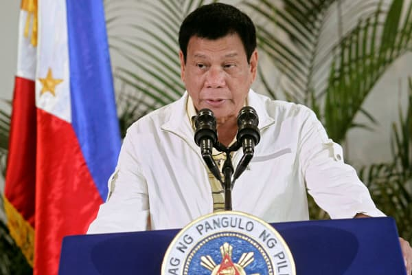 Philippine President Rodrigo Duterte delivers his pre-departure message before leaving for the Association of Southeast Asian Nations (ASEAN) Summit in Laos in Davao City, Philippines, September 5, 2016.