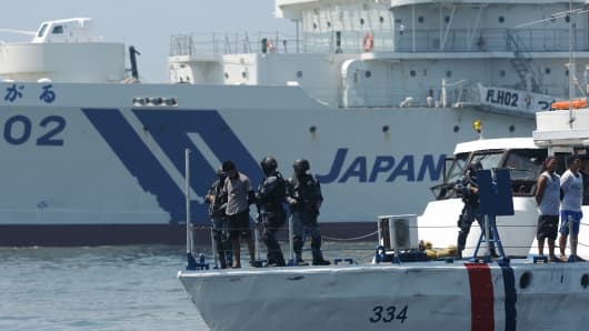 Philippine and Japanese Coast Guard personnel have also held an anti-piracy exercise in the waters off the Manila Bay.