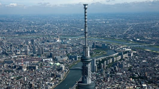 An aerial view of Tokyo.