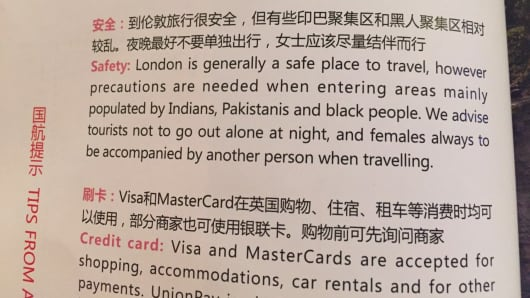 """Tips from Air China"" on safety when visiting London"