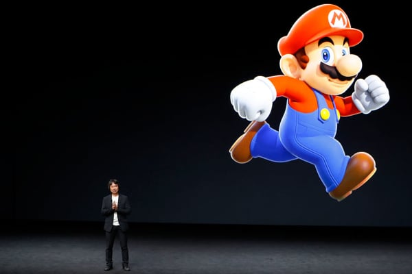 Shigeru Miyamoto, creative fellow at Nintendo and creator of Super Mario, speaks on stage during an Apple launch event on September 7, 2016 in San Francisco, California.