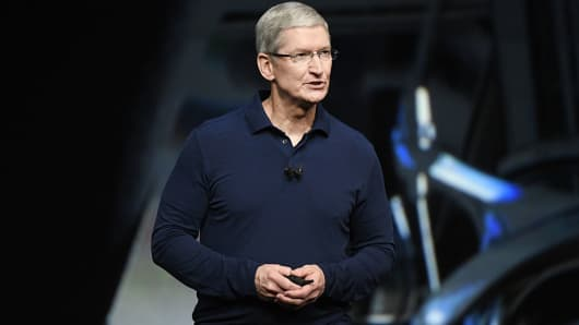 Tim Cook, chief executive officer of Apple Inc., speaks during an event in San Francisco, California, U.S., on Wednesday, Sept. 7, 2016.