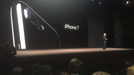 Tim Cook, CEO of Apple introduces the new iPhone 7