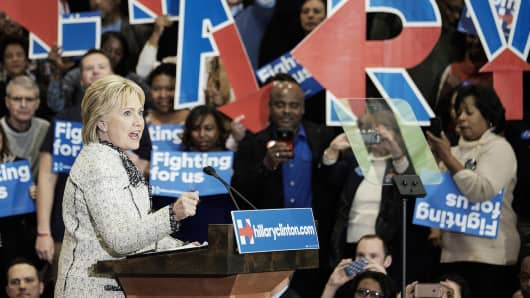 Hillary Clinton, former Secretary of State and 2016 Democratic presidential candidate, speaks during a primary election night rally at the University of South Carolina volleyball center in Columbia, South Carolina, U.S., on Saturday, Feb. 27, 2016.