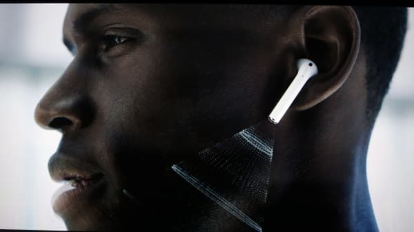 Video screen image of Apple AirPods during a media event in San Francisco, California, U.S. September 7, 2016.