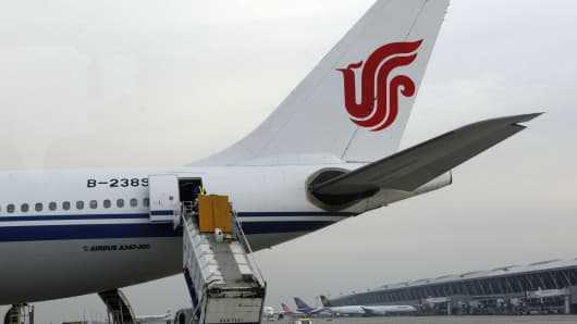 The tail of an Airbus plane of Air China in Beijing international airport.