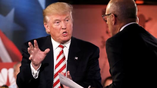 Donald Trump speaks to Matt Lauer during the Commander in Chief Forum in Manhattan, New York, September 7, 2016.