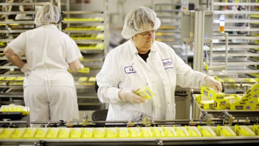 A file photo shows workers making Peeps at the Just Born factory in Bethlehem, Pa.
