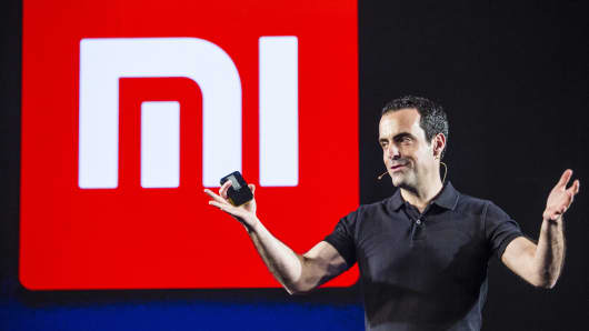 Xiaomi's Hugo Barra gestures while speaking during the launch of the company's Mi 5 smartphone in New Delhi, India, on Thursday, March 31, 2016.
