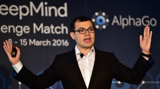 Google Deepmind head Demis Hassabis speaks during a press conference ahead of the Google DeepMind Challenge Match in Seoul on March 8, 2016.