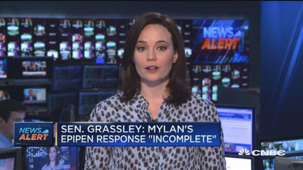 Sen. Grassley: Mylan's EpiPen response 'incomplete'